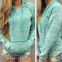 Casual Solid Color V-Neck Hoodie Top Sweater