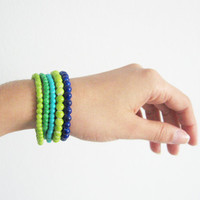 Colorful beads bracelet- shabby chic style- green, turquoise, dark blue