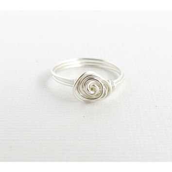 Silver Spiral Rose Ring - Silver Wire Wrapped Ring - Size 8 - Swirl Rose Ring - Silver Enameled Wire Ring