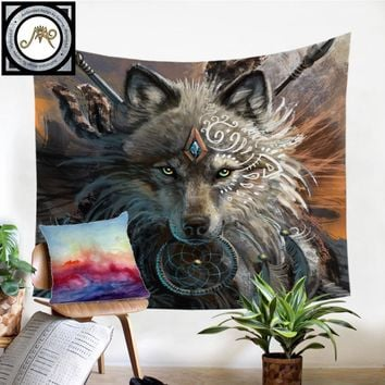 Wolf Warrior by SunimaArt Tapestry Native American Wall Hanging Animal Sheets Indian Wolf Tapestry Home Decor Beach Mat Bedding