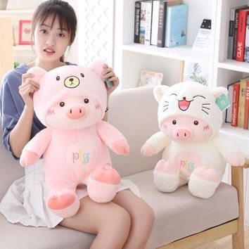 New 30cm plush toys Cartoon Pig with hat Kawaii soft cat bear dog Cute High Quality lovely Christmas gift for children girl hot