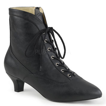 "Fab 1005 Leatherette 2"" Heel Lace Up Ankle Boot Black"