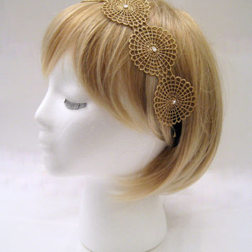 The Rosalie - gold lace headband, metallic gold hair wrap, rhinestone gold headband, gold boho headband, Swarovski rhinestone halo headband