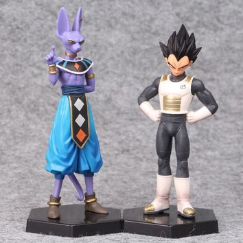 2pcs/lot Cosplay Japan Anime Dragon Ball Z Beerus Vegeta God Super Saiyan PVC Action Figure Model Doll Toys For Kids Gifts