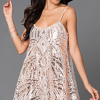 Short Spaghetti Strap Sequin Shift Dress DQR-2200-690