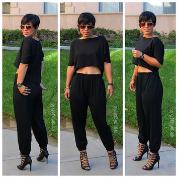 Black Crop Top Elastic Waist Pants Set