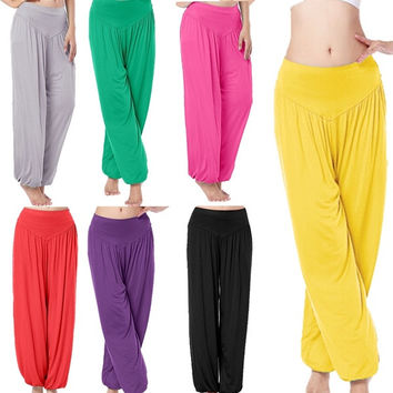 Women casual harem pants high waist  wide leg loose long bloomers trousers plus size = 1933168772