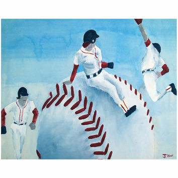 Red Sox - Canvas Mini of Baseball Poster Paint Fine Art