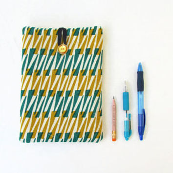 Ipad mini case, green and gold hand printed fabric, IPad mini sleeve, fabric tablet cover, samsung galaxy 7, handmade in the UK