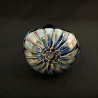 Apprentice Cobalt Glass Silver Fumed Pattern Tobacco Spoon Pipe