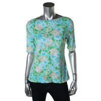 Charter Club Womens Petites Pima Cotton Floral Print Casual Top