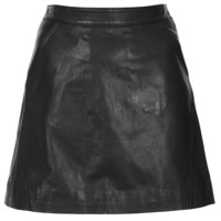Black Leather A Line Skirt - Skirts - Clothing - Topshop