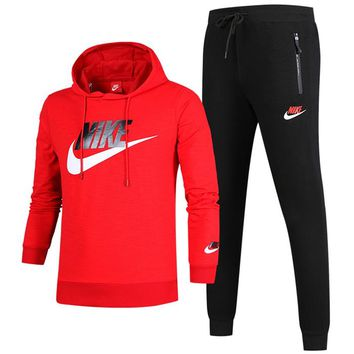 NIKE autumn and winter new long-sleeved hooded sports suit plus velvet sports two-piece Red