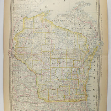 Vintage Map Wisconsin State Map WI 1881 Rand McNally Wisconsin Map, 1st Anniversary Gift for Couple, Wisconsin Gift Under 50, Antique WI Map