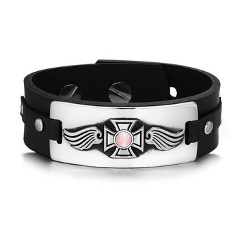 Guardian Angel Wings Viking Celtic Cross Magic Amulet Pink Simulated Cats Eye Leather Bracelet