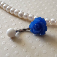 Blue Rose Belly Ring 14ga Navel Ring Stainless Steel Body Jewelry