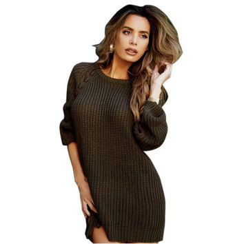 2017 New Arrival O Neck Long Sleeved Irregular Pullovers Sweater Side Split Tunic Shirt For Women Ladies Autumn Clothings LX225