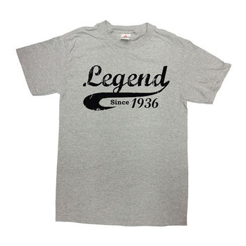 Funny Birthday Shirt Legend Since 1936 (Any Year) T Shirt 80th Birthday Gift Shirt 80 Years Old Custom TShirt Mens Ladies Unisex Tee - SA471