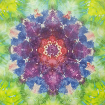 Mandala tie dye tapestry in blue, green, purple, red