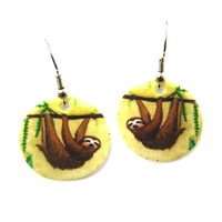 Sloth Animal Watercolor Round Dangle Earrings | Handmade Shrink Plastic