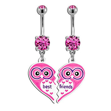 Best Friend Browning Set of Two Friendship Pink Charm Sexy Cute Belly Button Rings Dangle 316l Surgical Steel