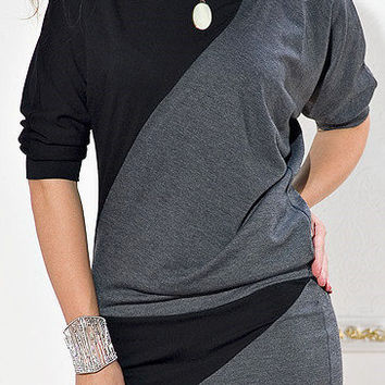 Beautiful two-tone tunic with sleeves Dolman
