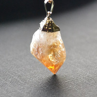 Gold Plated Citrine Crystal Point Necklace by marcieroxx on Etsy