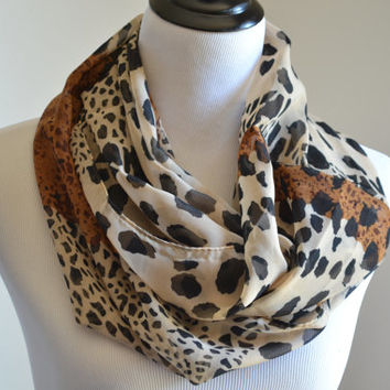 Flash Sale Leopard Infinity Scarf Fashion Women Animal Silk Infinity Scarves Nice Chevron Brown Loop Shawl Infinity Scarf