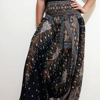 Elegant Peacock Feather Boho Harem Pants Hippy Hippie / Aladdin Pants/ Genie Pants (Black)