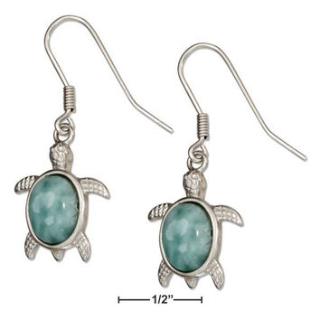 STERLING SILVER LARIMAR TURTLE EARRINGS