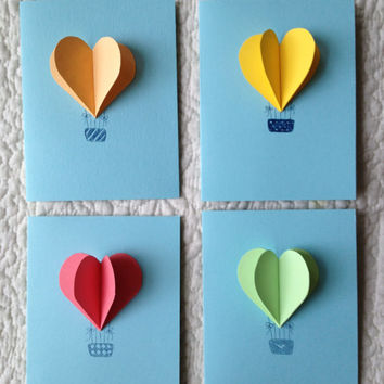 Theadoration on etsy on wanelo heart hot air balloon cards set of 4 bookmarktalkfo Image collections
