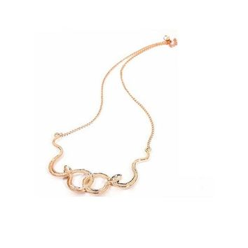 Zircon Gold-Color Summer Snake Pendant Necklace