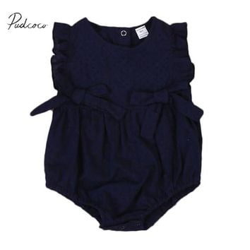pudcoco 2017 new sleeveless o-neck pullover fashion Top Newborn Baby Girls Hollow Out Romper Jumpsuit Summer Infant 0-24M
