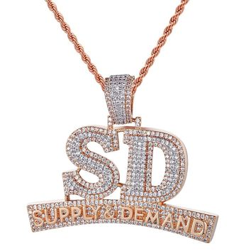 Men's Hip Hop Supply And Demand Rose Gold 3D SD Pendant