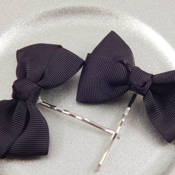 Black Grosgrain Bow Bobbypins  - great for prom- wedding - Christmas -new year - handmade hair accessory, big bows for little flower girls
