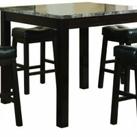 Coaster 5-Piece Dining Set, Faux Marble Table Top with 4 Barstools, Cappuccino Frame