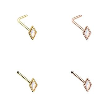Golden & Rose Gold Illuminating Diamond Shape L-Shape & Stud Nose Ring