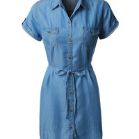 LE3NO Womens Lightweight  Short Sleeve Tencel Button Down Denim Dress (CLEARANCE)