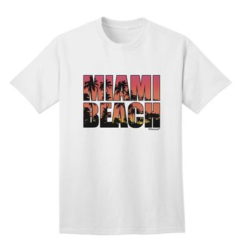 Miami Beach - Sunset Palm Trees Adult T-Shirt by TooLoud