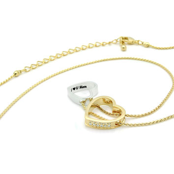 """Mother Gold Heart Necklace Engraved with """"I love U Mom"""", 18"""" Chains included"""