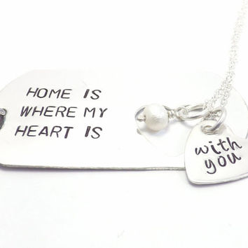 Large Sterling Silver Dog Tag and Heart His and Her Necklace Set- Home Is Where My Heart Is, Personal Message, Deployment Jewelry