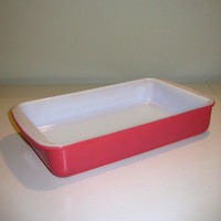 Rare 1960s Red-Pink Pyrex Rectangle Baking/Casserole Dish/Lasagne Pan