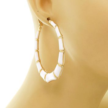 Large White and Gold Bamboo Earrings