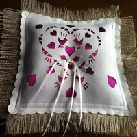 Burlap Ring bearer pillow with cerise pink satin panel and freshwater pearls, Customized with Your Wedding Colors