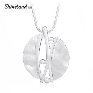 Shineland Steampunk Vintage Geometric Necklace Unique Design Personality Wire Drawing Pendants for Women Men Jewelry Collier