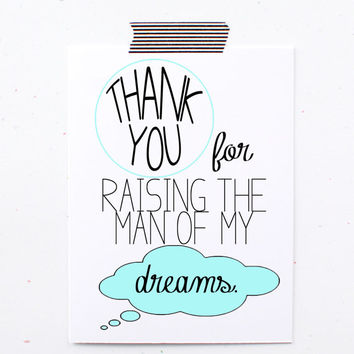 Card to the mother or farther of the groom on your wedding day. Thank you for raising the man of my dreams. little sloth card