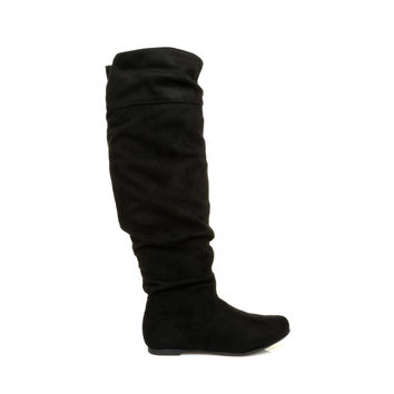 NAOMI Black Micro Faux Suede Flat High Calf Knee Length Slouch Boots