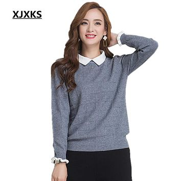 XJXKS Cashmere fashion Autumn and winter sweater hedging new women loose long-sleeved solid color turn-down collar sweater