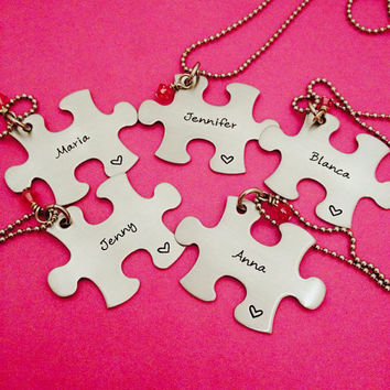 Free U.S. Shipping Personalized Hand Stamped Puzzle Piece Necklace with Stone - Choose Your Quantity -Bridesmaids - Best Friends