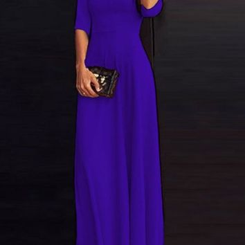 Navy Blue Draped 3/4 Sleeve Round Neck Elegant Party Maxi Dress